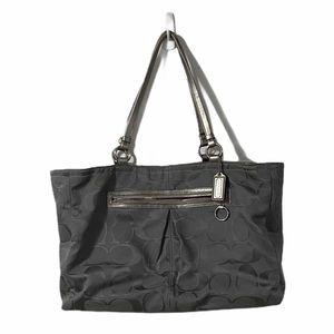 Coach Grey & Silver Tote Bag with Purple Interior